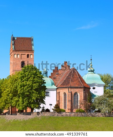 Church of Visitation the Virgin Mary in Warsaw city, Poland - view at old town from Visla river