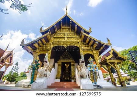 Church of Wat Phra That Si Chom Thong ,Chiangmai, Thailand - stock photo