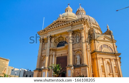 Church of Xewkija dedicated to St John the Baptist in Xewkija known as the Rotunda, in Gozo, Malta. - stock photo