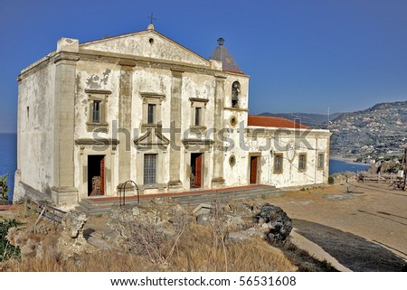 Church on a rock overlooking the coast of Sicily Capo d'Orlando - stock photo