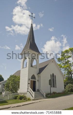 Church On Mackinaw Island - stock photo