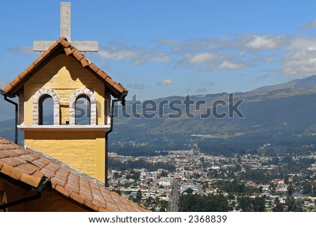 church on mountains. ecuador. south america - stock photo