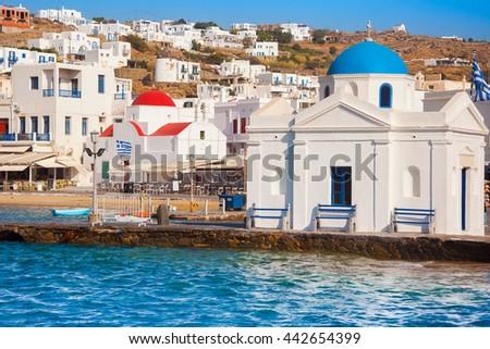 Church on Mykonos by the sea - stock photo