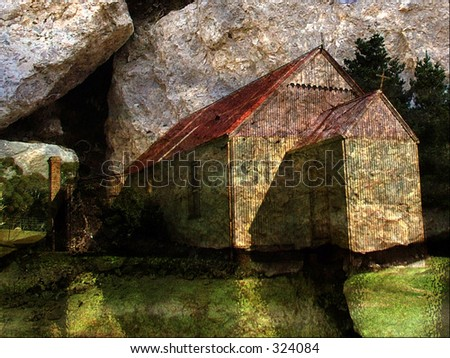 Church on rock - stock photo
