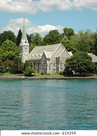 Church on Skaneateles Lake (one of the Finger Lakes) in the Village of Skaneateles, Upstate New York