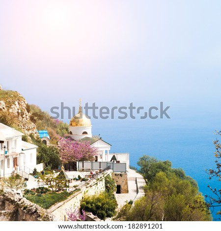 Church on the cliff above the sea. Balaclava. Crimea. Ukraine - stock photo