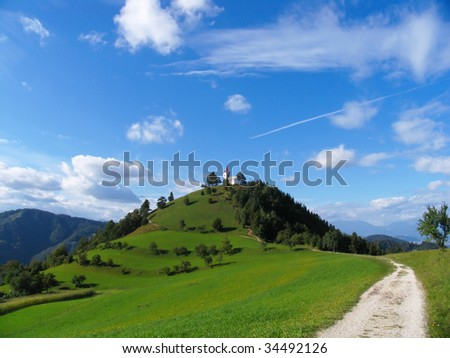Church on the hill - stock photo