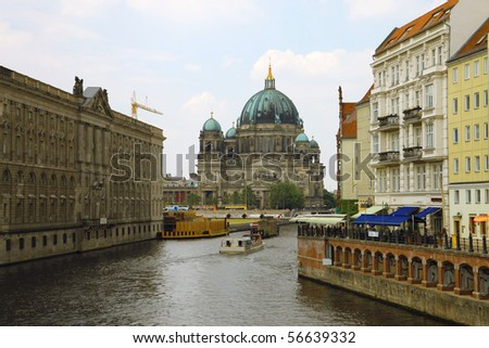 Church on the Spree river in Berlin - stock photo
