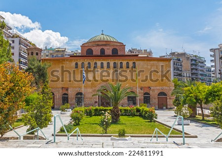 Church or monastery building detail against blue sky in Thessaloniki, Greece  - stock photo