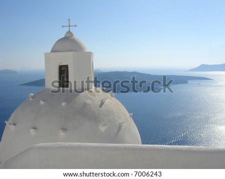 church over a blue background - santorini, greece architecture - stock photo