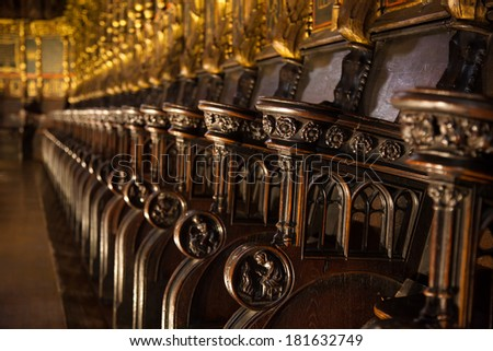 Church Pews. Detail wood carving.6 cathedral Barcelona - stock photo