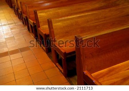 Church Pews in Mission Santa Barbara, California - stock photo