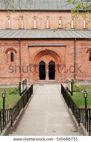 Church Portal, Sandomierz, Poland - stock photo