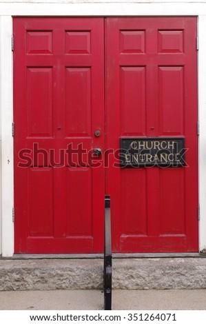 Church Red Door - stock photo