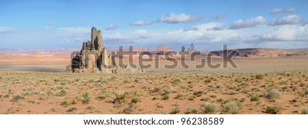 Church Rock outside of Kayenta AZ - stock photo