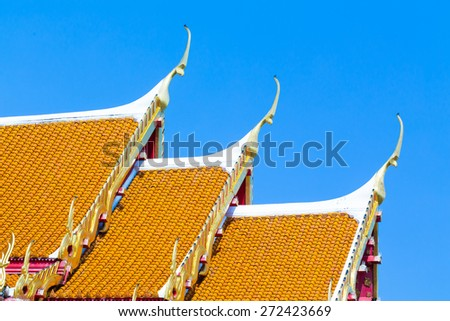 Church roof Buddhist temple in Thailand - stock photo