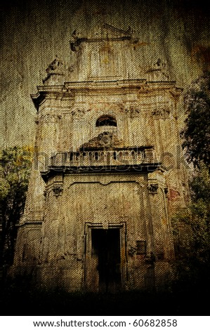 Church ruins on ancient grunge canvas background - stock photo