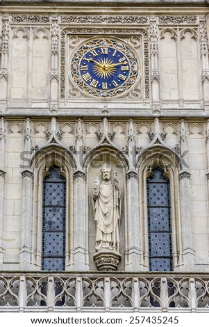Church Saint-Germain-l'Auxerrois, Place du Louvre, Paris. France. Founded in 7th century, church was rebuilt many times. Now has construction in Roman, Gothic and Renaissance styles. - stock photo