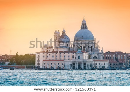 Church Saint Maria della Salute at sunset, Venice, Italy