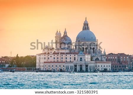 Church Saint Maria della Salute at sunset, Venice, Italy - stock photo