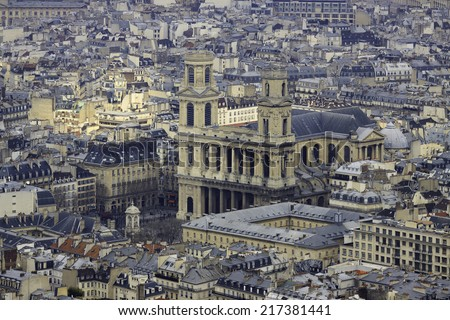 Church Saint-Sulpice in Paris, France, view from top - stock photo