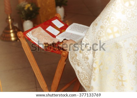 Church service and crosses - stock photo