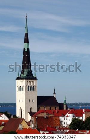 Church St. Olaf Tallinn in the Old Town. - stock photo