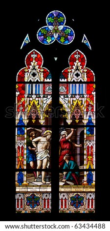 Church stained glass - stock photo