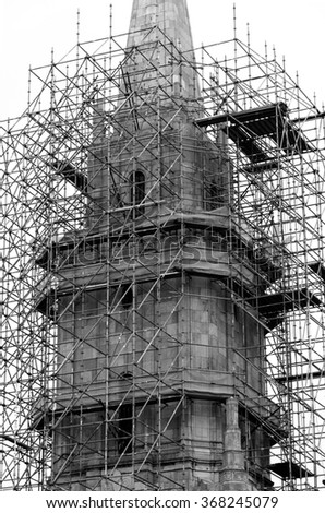 Church Steeple with Scaffolding