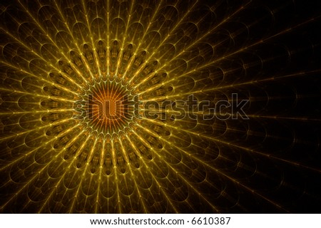 church top stained glass, rendered fractal image - stock photo