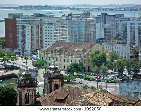 Church tower and a panoramic view of the Down City, Salvador de Bahia, Brazil - stock photo