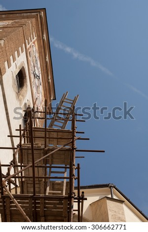 church tower and scaffolding