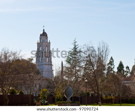 Church tower at St Mary's university - stock photo