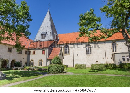Church tower at the Malgarten monastery in Germany