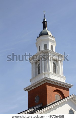 Church tower near campus of Yale University, New Haven, Connecticut - stock photo