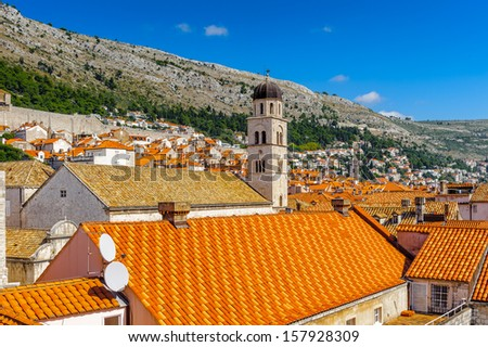 Church tower of the Old City of Dubrovnik (Croatia) - stock photo
