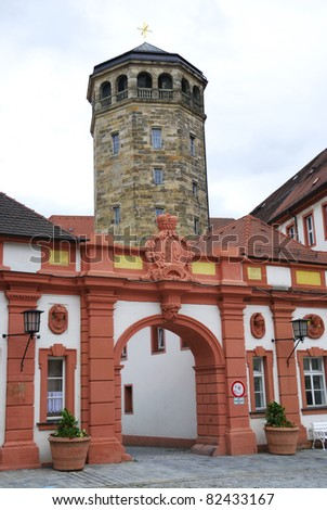 Church tower of the old palace in Bayreuth - stock photo