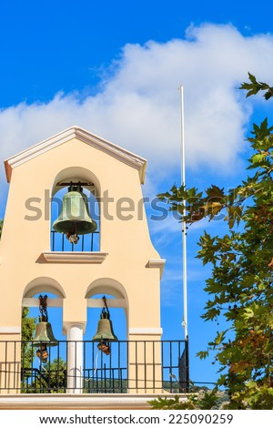 Church tower with bells in Assos town, Kefalonia island, Greece - stock photo