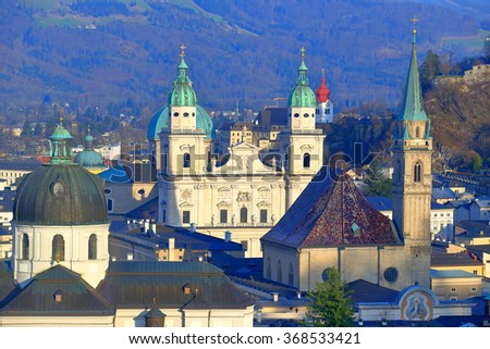 Church towers above the historical district of Salzburg, Austria - stock photo