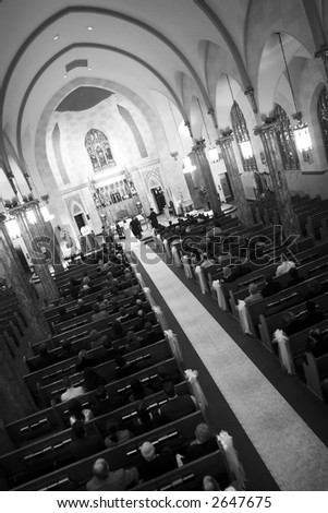 Church wedding from up high - Black and white photo