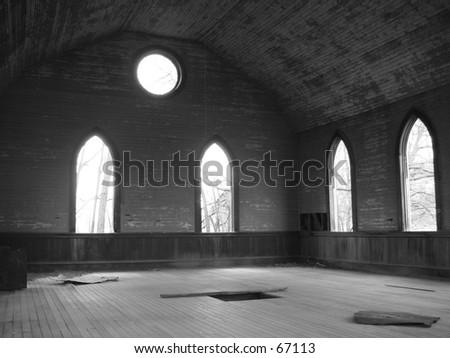 Church Window View - stock photo