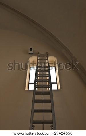 Church windows and ladder