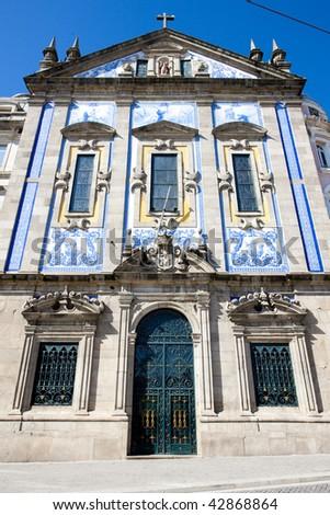 church with azulejos (tiles), Porto, Douro Province, Portugal - stock photo