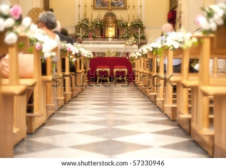 Church with flower for a marriage - stock photo