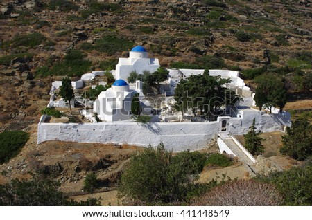 Churches in cemetery under Kastro of Sifnos. - stock photo