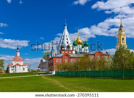 Churches in Kolomna Kremlin - Russia - Moscow region - stock photo