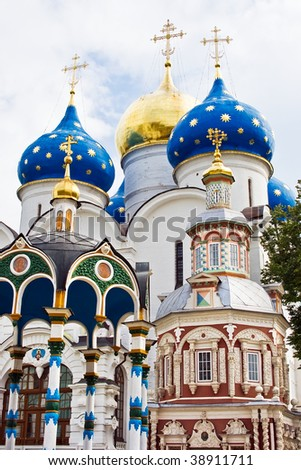 Churches in Sergiev Posad - One of the greatest Russian monasteries not far from Moscow - stock photo