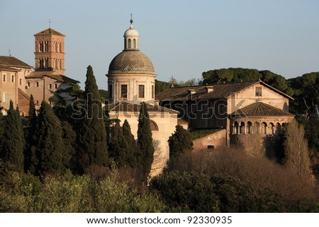 Churches of Rome seen from Palatine Hill - stock photo