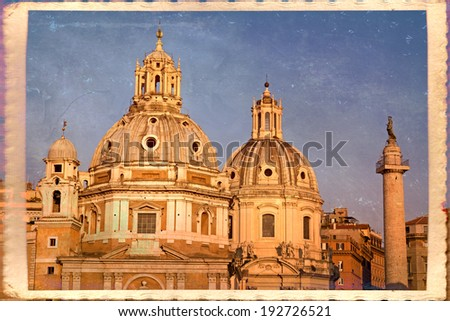 Churches of Santa Maria di Loreto, of the Most Holy Name of Mary at the Trajan Forum and Trajan's Column in Rome, Italy.