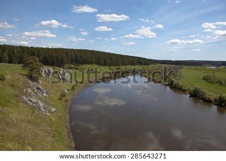 Chusovaya River at the village of Sloboda. Sverdlovsk region. Russia - stock photo
